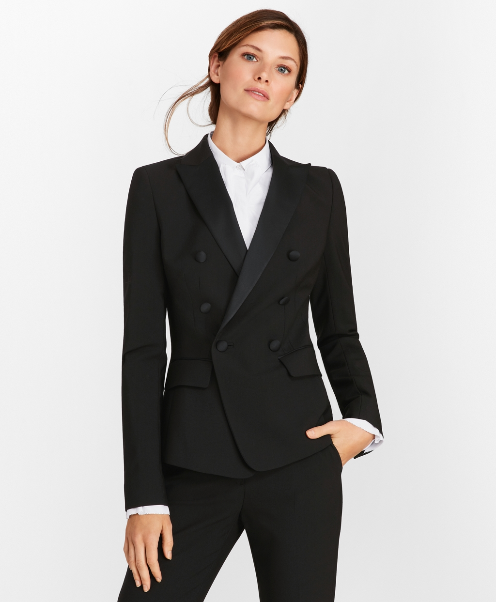 1930s Evening Dresses | Old Hollywood Silver Screen Dresses Brooks Brothers Womens Petite Stretch-Wool Crepe Double-Breasted Tuxedo Jacket $348.60 AT vintagedancer.com