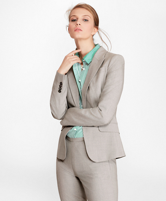 Petite Stretch-Wool Peak Lapel Jacket