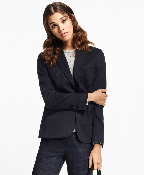 Petite Two-Button Cashmere Blazer Navy