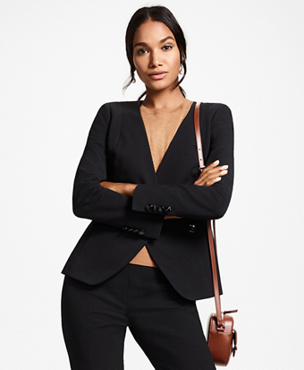 Petite Stretch-Cotton Jacquard Double-Breasted Jacket