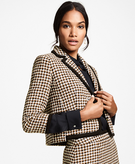 Petite Checked Tweed Cropped Jacket