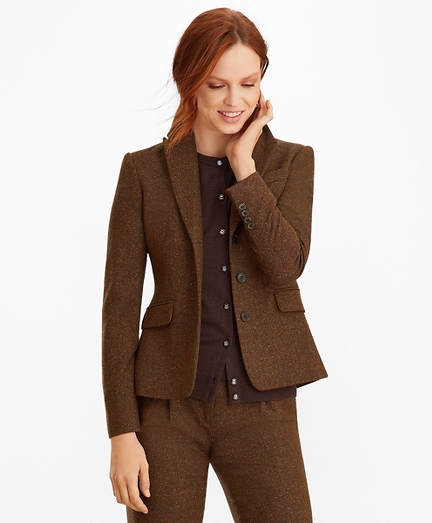 Petite Stretch Wool-Silk Tweed Jacket