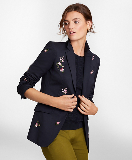 Petite Floral-Embroidered Stretch Wool Jacket
