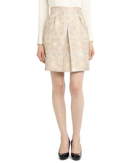 Petite Front Pleat Jacquard Skirt