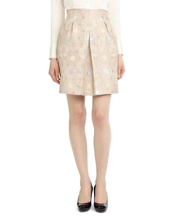 Petite Front Pleat Jacquard Skirt Pink