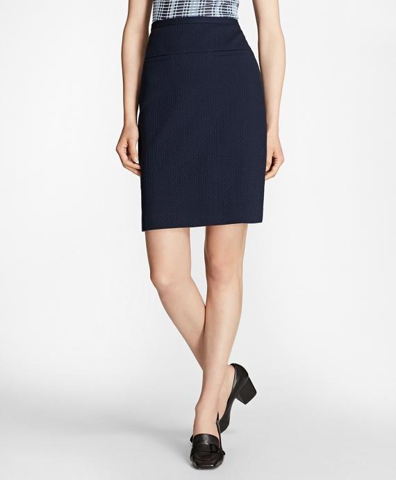 Petite Stretch Cotton Jacquard Skirt Navy