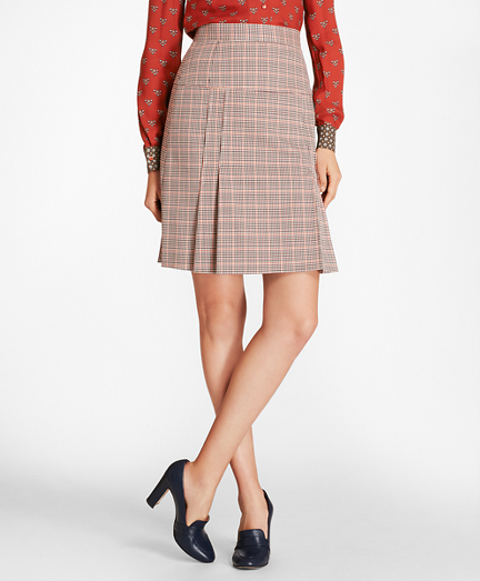 Brooksbrothers Petite Houndstooth-Checked Stretch-Wool Pleated Skirt