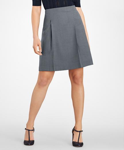 Petite Bird's-Eye Stretch-Wool Pleated Skirt