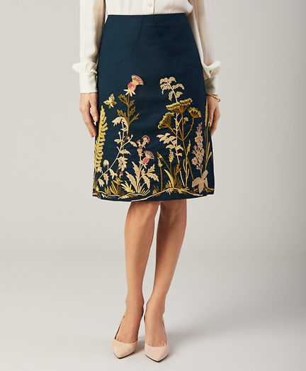 Petite Floral-Embroidered Stretch Cotton Canvas Skirt