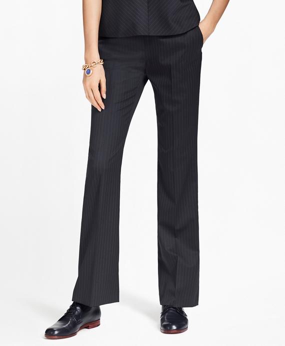 Petite Pinstripe Stretch-Wool Pants Navy