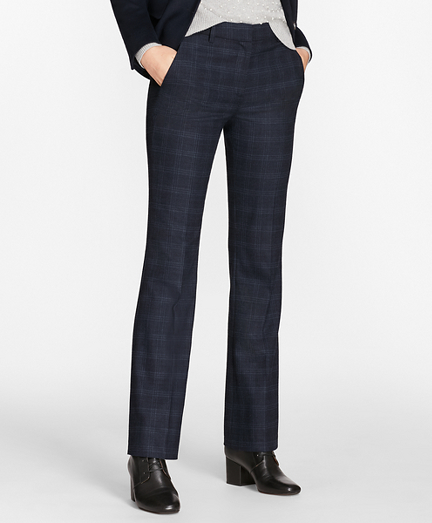 Petite Plaid Stretch-Wool Pants