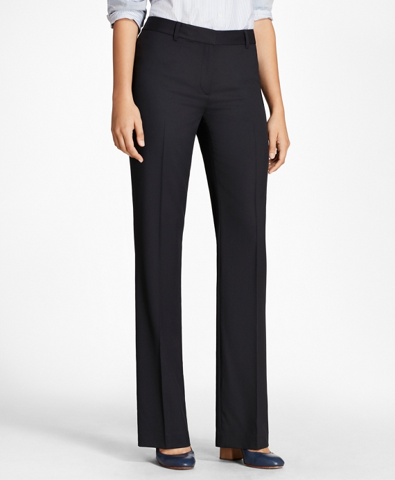 Petite Wool Wide-Leg Pants Navy