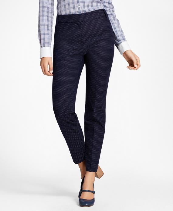 Petite Slim-Fit Diamond Jacquard Ankle Pants Navy