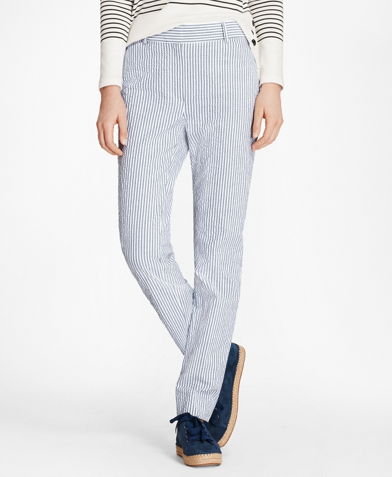 Petite Striped Stretch Cotton Seersucker Pants Blue-White