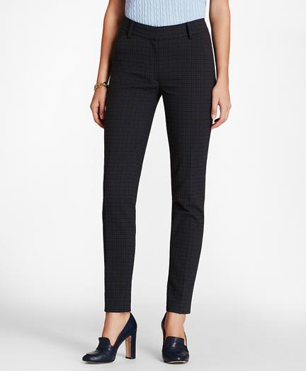 Petite Plaid Stretch-Cotton Jacquard Ankle Pants
