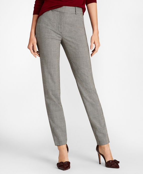 Petite Mini-Houndstooth Stretch Wool Slim-Fit Ankle Pants Grey