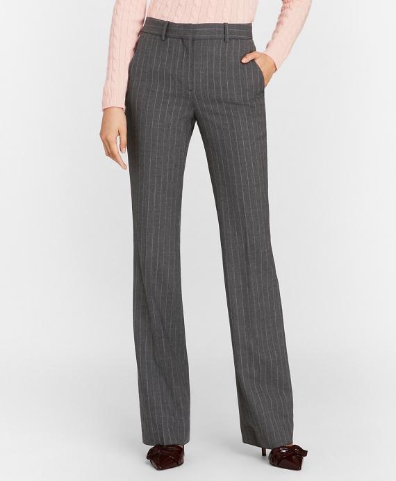 Petite Pinstripe Stretch Wool Pants Grey
