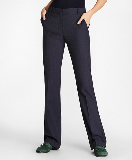 Petite Checked Wool Pants