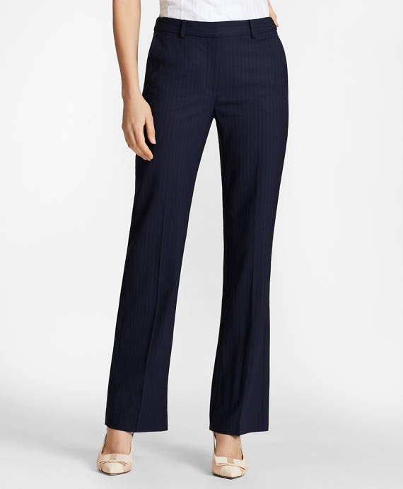 Petite Pinstripe BrooksCool® Merino Wool Pants Navy