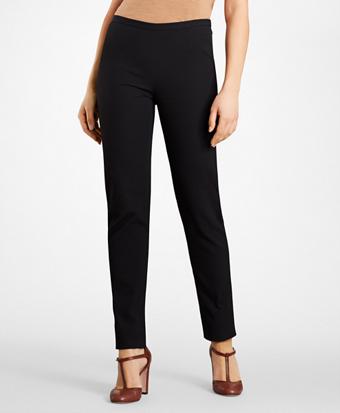 Petite Stretch-Cotton Jacquard Pants
