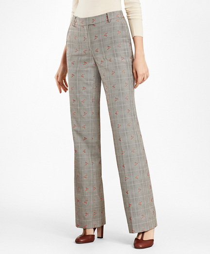 Petite Floral Glen Plaid Wool-Cotton Pants