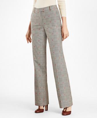 Petite Floral Glen Plaid Wool-Cotton Pants