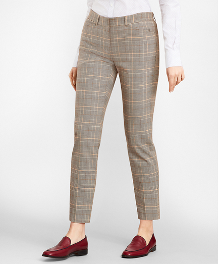 Petite Slim-Fit Glen Plaid Twill Pants