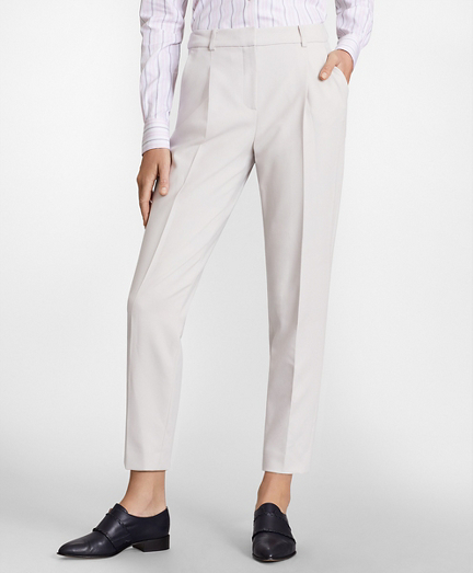 Petite Double-Weave Pleated Ankle Pants