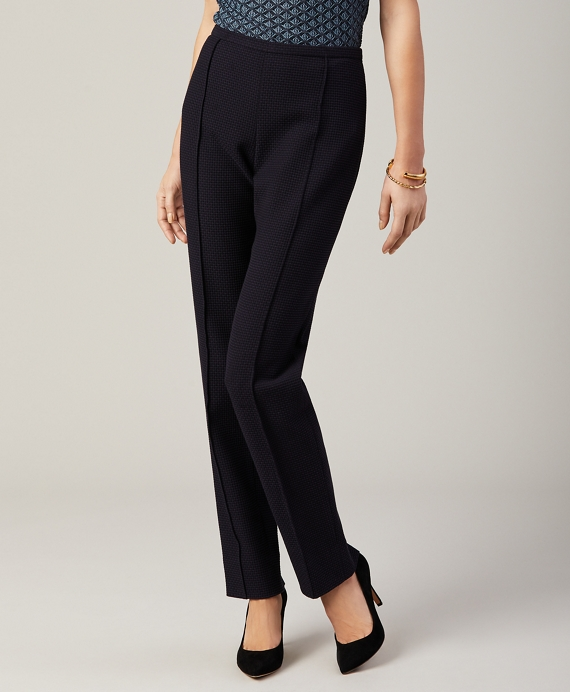 Petite Jacquard Slim-Fit Pants Navy