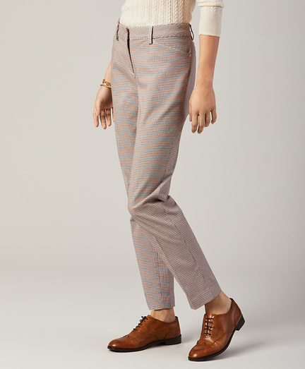 Petite Checked Cotton-Blend Twill Pants