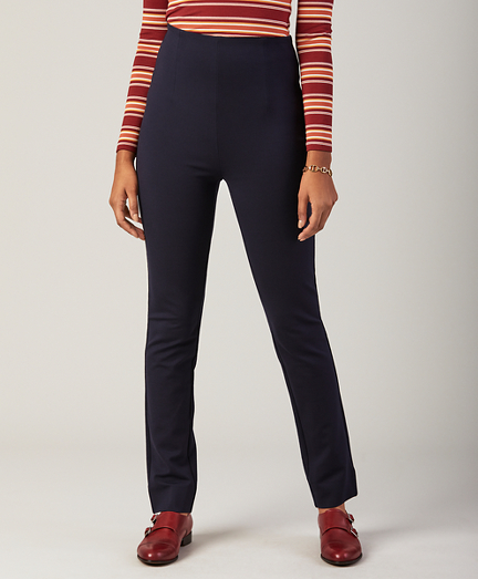Petite High-Waist Ponte Knit Ankle Pants
