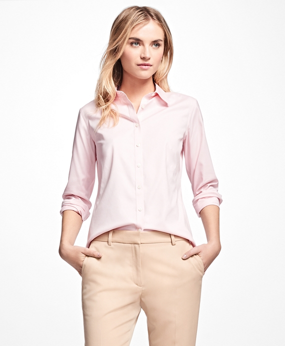 Petite Non-Iron Fitted Dress Shirt Pink