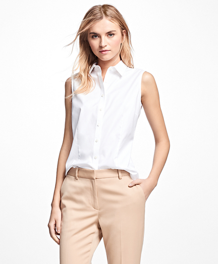 Petite Non-Iron Fitted Sleeveless Dress Shirt