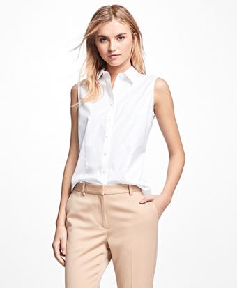 Petite Non-Iron Fitted Sleeveless Dress Shirt