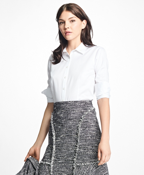 Petite Tailored-Fit Cotton-Sateen Dress Shirt White