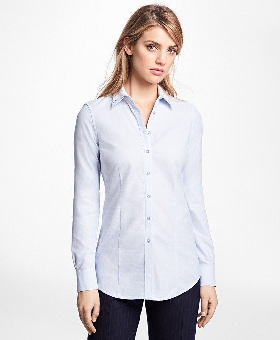 Petite Tailored-Fit Cotton Double-Collar Shirt Light Blue