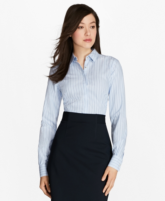 Petite Non-Iron Multi-Stripe Cotton Poplin Fitted Dress Shirt Blue