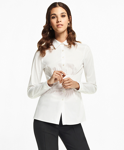Petite Stretch Cotton Peplum Shirt