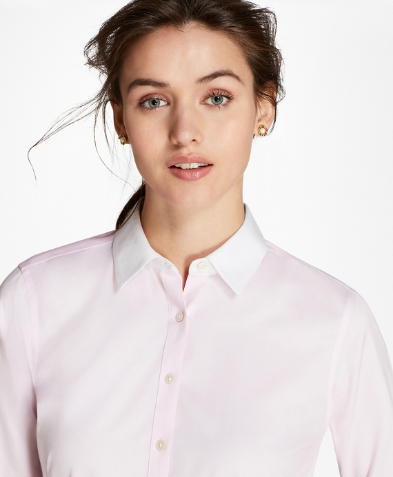 Petite Non-Iron Contrast-Collar Cotton Twill Fitted Shirt Light Pink