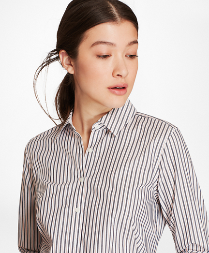 Petite Striped Cotton Dobby Fitted Shirt
