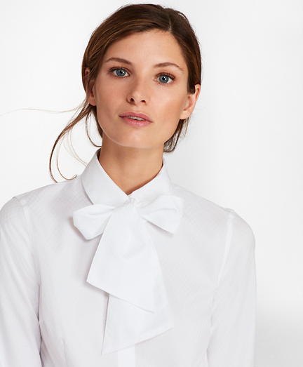 Petite Non-Iron Tailored-Fit Dobby Cotton Bow-Neck Shirt