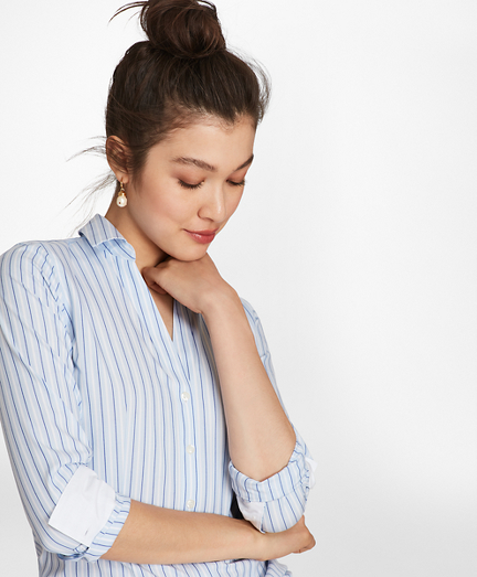 Petite Non-Iron Striped Stretch-Cotton Poplin Fitted Shirt