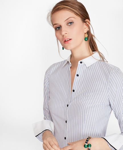 Petite Non-Iron Tailored-Fit Striped Stretch-Cotton Poplin Shirt