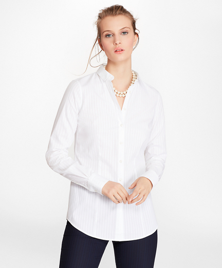 Petite Tailored-Fit Diamond-Stripe Dobby Cotton Shirt