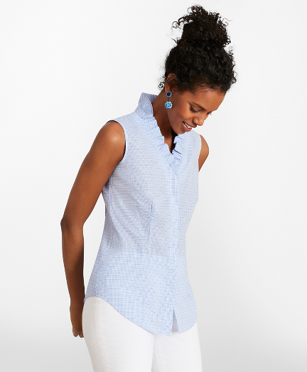 Petite Non-Iron Checked Cotton Poplin Ruffle-Collar Sleeveless Blouse