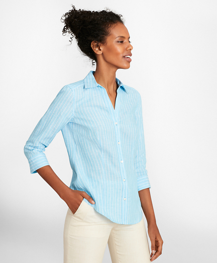 Petite Tailored-Fit Striped Linen Three-Quarter-Sleeve Shirt