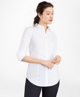 Petite Tailored-Fit Performance Non-Iron COOLMAX® Poplin Shirt