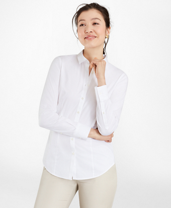 Petite Tailored-Fit Performance Non-Iron COOLMAX® Twill Shirt