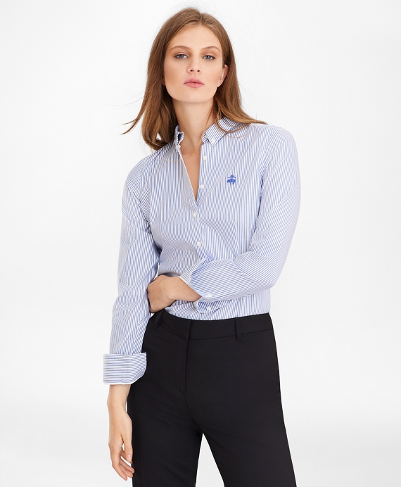 Petite Non-Iron Tailored-Fit Bengal Stripe Supima® Cotton Pinpoint Oxford Shirt Blue-White