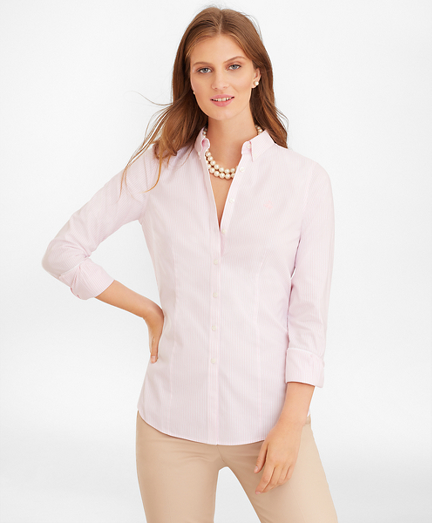 Petite Non-Iron Tailored-Fit Bengal Stripe Supima® Cotton Pinpoint Oxford Shirt